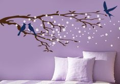 Cherry Blossom Tree branch wall decal : Japanese Wall art Sticker , Asian Home decor of  Sakura Tree branch with birds. $39.00, via Etsy.