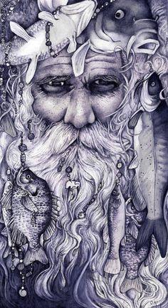 Drowned God, Old Kelpbeard, Deep Sea, Sea Storms, Travel, Navigation, Conch Shells, Krackens, Sharks, Fish, Seaweed, Kelp, Driftwood, Blue, Green, Grey