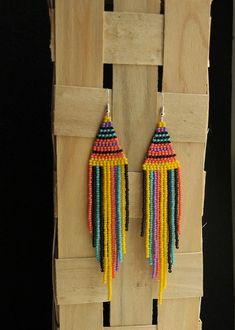 Indian Beaded Earrings Handmade Seed Bead Earrings Gift for Girls, Long Beaded Earrings Beaded Colorful Earrings, Multi Jewelry - Diy Earrings Seed Bead Jewelry, Bead Jewellery, Seed Bead Earrings, Boho Earrings, Earrings Handmade, Handmade Jewelry, Seed Beads, Etsy Handmade, Diamond Jewelry