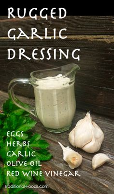 2 eggs, 1 teaspoon salt  12 cloves garlic and 2 tablespoons red wine vinegar  2 cups light olive oil and ½ cup more of red wine vinegar  1 cup of lightly packed fresh herbs such as chives, parsley, dill, basil…finely chopped