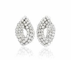 A Superb Pair of Diamond Earclips, Harry Winston