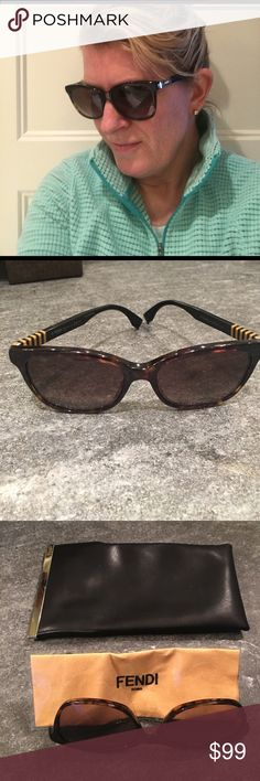 Fendi sunglasses - AUTHENTIC authentic Fendi sunglasses - perfect condition, bought at Nordstrom . Worn once, not my style. Comes with soft case and Fendi cleaning cloth. Dark tortoise color Fendi Accessories Sunglasses