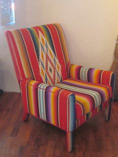 Chair upholstered in vintage zarape
