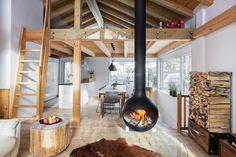 """Wohngenuss auf höchstem Niveau"" Loft, Bed, Furniture, Home Decor, Chalets, Open Fireplace, Luxury, Homes, Pictures"