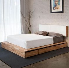 mid-century bed with storage , cozy bed and white bedhead