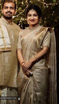 Elegant designer blouses with silk sari Read info on -- Kerala Wedding Saree, Wedding Saree Blouse, Bridal Silk Saree, Saree Dress, Red Saree, Dress Lace, Christian Wedding Sarees, Christian Bride, Pattu Saree Blouse Designs