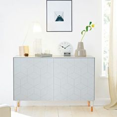 Illusion fronts, top and sides in Aergo green with Captain legs. Ikea cabinet Bestå.
