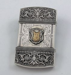 Whiting antique sterling card case with dog motifs