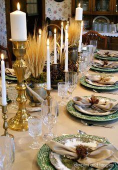 Thanksgiving Table, Fall Tablescape, Bordallo and Friendly Village plates, brass candlesticks
