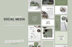 Green lifestyle social media templates for Instagr by skyladesign on Envato Elements Instagram Design, Images Instagram, Social Media Branding, Social Media Design, Social Media Marketing, Business Branding, Media Kit Template, Social Media Template, Graphisches Design