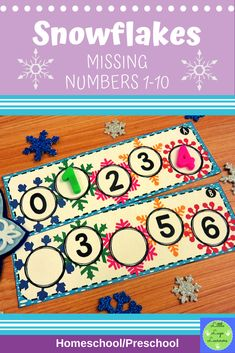 These Snowflake Missing Numbers are the perfect addition for learning in your Math Centers. These activities are engaging with their challenging content! Your year old kids will enjoy learning about Snowflake and numbers with this time saving resource. Numbers Preschool, Preschool Math, Preschool Winter, Maths, Morning Activities, Numbers 1 10, Number Activities, Dramatic Play, Literacy Centers