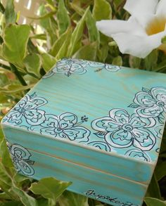 Aqua hand-painted wood box, with tropical white flowers. Original design by L.Stowe 2014