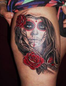 hd-tattoos.com Skull tiger stencil on thigh   Beautiful Tattoo ...