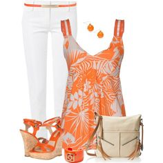 Orange Wedge Sandals, created by daiscat on Polyvore