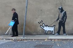 New Banksy Piece with Keith Haring Dog