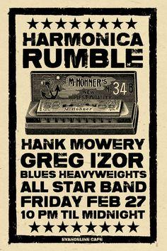Hank Mowery Greg Izor Blues Harmonica poster  by austingigposters