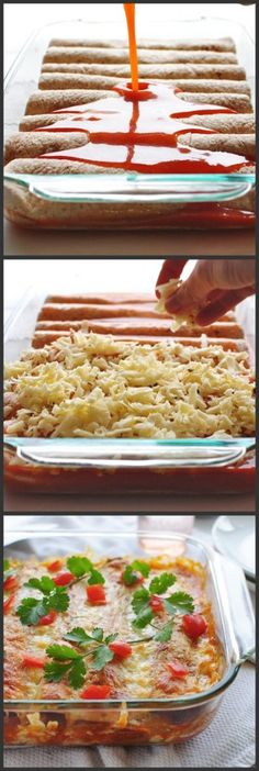 Shredded beef enchiladas, could also do with shredded chicken.  Oh the possibilities!!!