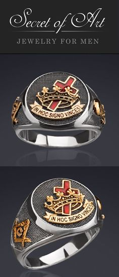 """Very fine Knights Templar Ring: In Hoc Signo Vinces (""""In this sign you shall conquer"""") With filigree Symbols on the side of the ring: Compasses & square-tool and the skull as symbol for the transience of life. This high-quality silver ring is handmade in highest quality craftsmanship."""