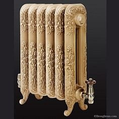 The Montpellier Cast Iron Radiator: A elegant decorative radiator first produced in France in the The eye catching floral design flows from th Painting Services, Victorian Homes, Iron, Metallic Paint, Victorian Farmhouse, Folk Victorian, Cast Iron Radiators, English Interior, Decorative Radiators