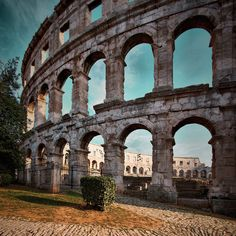 The Amphitheatre of Pula, Croatia, well preserved Roman ruins close to the town you will be in Lil Suze Pula, Rest Of The World, Places Around The World, Around The Worlds, Visit Croatia, Croatia Travel, Over The Rainbow, Roman Architecture, Holiday Places