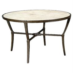 Jane Modern French Stone Top Metal Outdoor Round Dining Table | Kathy Kuo Home