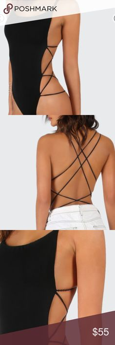 Backless Bodysuit Backless Strappy Bodysuit in Black Fabric is stretchy  Bust(cm) : XS:76cm, S:80cm, M:84cm, L:88cm Waist Size(cm) : XS:58cm, S:62cm, M:66cm, L:70cm Hip Size(cm) : XS:62cm, S:66cm, M:70cm, L:74cm Length(cm) : XS:73cm, S:74cm, M:75cm, L:76cm  Size Available : XS,S,M,L Tops Camisoles