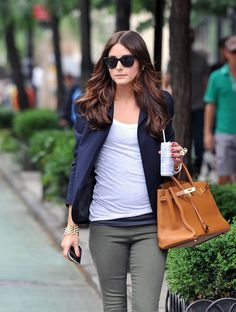 How to Style Grey Jeans Olivia Palermo Style Navy, White, Grey, Camel- Classic Perfection