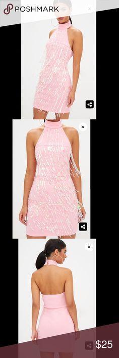 Pale pink sequin tassel halterneck dress Worn once US size 6 PrettyLittleThing Dresses Mini