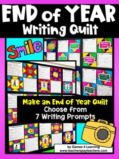 End of Year Writing Prompts Quilt with Summer Bucket List Activity and More! End Of Year Activities, Quilt Display, Writing Prompts For Kids, Game 4, Summer Bucket Lists, Bulletin Board, Classroom, Positivity, Quilts