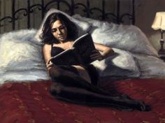 woman reading in bed painting by fabian perez Fabian Perez, People Reading, Reading In Bed, Woman Reading, Thalia, Illustrations, Illustration Art, Vincent Perez, Romain Gary