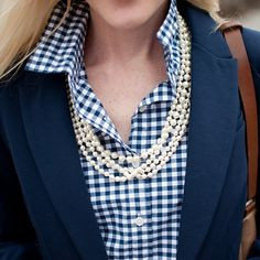 navy gingham and pearls
