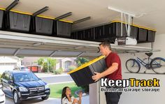 Now you know what that space above your garage door was meant for! 24 Totes each 27 Gallons completely hidden from the street! Tote Storage, Closet Storage, Diy Garage, Garage Doors, Garage Ideas, Overhead Garage Storage, Garage Furniture, Reach In Closet, Inside Home