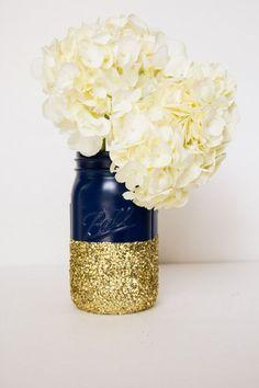 navy and gold glitter quart mason jar / http://www.himisspuff.com/navy-blue-and-gold-wedding-ideas/5/