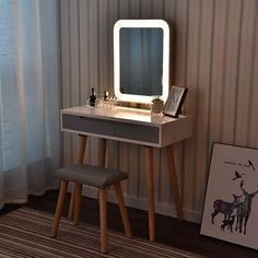 Vanity Table Set with Adjustable Brightness Mirror and Cushioned Stool, Dressing Table Vanity Makeup Table with Free Make-up Organizer Modern Makeup Vanity, Makeup Table Vanity, Wood Vanity, Makeup Tables, Vanity Table Set, Dressing Table Vanity, Vanity Set With Mirror, Small Vanity, Dressing Tables