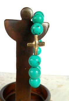 Green turquoise stretch bracelet by Studio3712Jewelry
