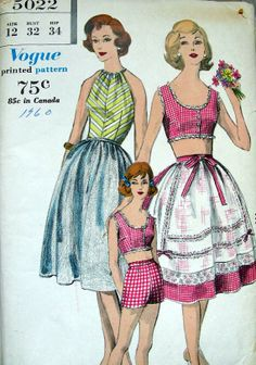 Vintage 50's Sewing Pattern Vogue 5022  Crop Top by anne8865, $35.00