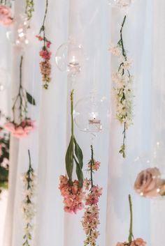 Hanging Flower Garlands and Orb Votives Hanging Flowers Wedding, Flower Garland Wedding, Bridal Shower Flowers, Wedding Vases, Floral Garland, Flower Backdrop, Flower Garlands, Flower Decorations, Wedding Decorations