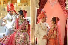 #WeddingSutraP2W A deep pink and red lehenga with heavy gold embroidery for Real Bride Sheetal of WeddingSutra.