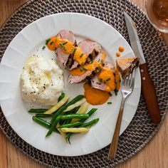 Try this Pork Tenderloin with Red Pepper Sauce recipe by Hidden Valley.