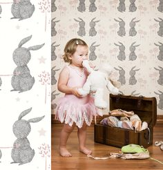 Rabbit Hearts wallpaper by Muffin & Mani ...    for when she gets her own room