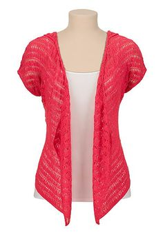 Open stitch cardiwrap with hood (original price, $34) available at #Maurices
