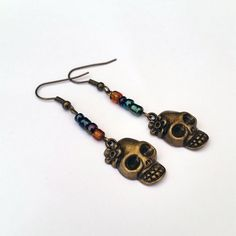 Gothic Style Antique Bronze Coloured Skull Earrings with Beads £4.00