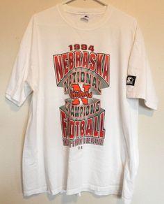 vtg Nebraska Football T Shirt Cornhuskers '94 National Champs Huskers 90s NCAA  #Starter #GraphicTee
