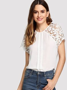 Buy White Lace Raglan Sleeve Fold Pleat Detail Top for Women at Fashiontage. Sewing Lace, Dress Sewing Patterns, Blouse Patterns, Blouse Designs, Mom Outfits, Diy Dress, Blouse Vintage, Blouse Styles, Lace Sleeves
