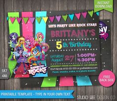 MLP Rainbow Rocks Birthday Invitation - INSTANT DOWNLOAD - My Little Pony Chalkboard Birthday Invite - DiY Personalize & Print - lp217