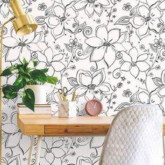 Linework Floral Peel and Stick Wallpaper by @NextWall. $39.99 Bohemian. Modern. Happy. Artsy. Black or orange. #removablewallpaper #floralwallpaper #bohochicdecor #DIY #BuyAmericanMade #modernwallpaper #homedecorideas #homedecorating