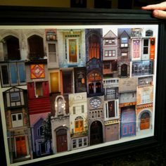 """Housewarming gift for me and my boyfriend in our first apartment.  My Mom compiled pictures of important """"doors"""" in our lives and framed them. Childhood homes, churches, dorms, offices and numerous apartments.  So thoughtful!"""