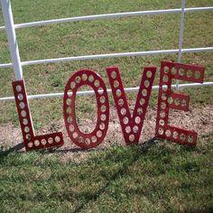 vintage highway letters- LOVE in red