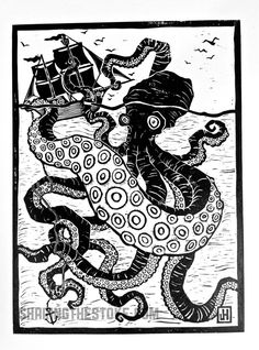 THE KRAKEN / OCTOPUS - handpressed linocut poster. $40.00, via Etsy.