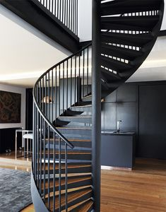 Spiral Stairs Design, Spiral Staircase, Staircase Design, Loft Stairs, House Stairs, Stair Slide, Tiny House Loft, Stair Handrail, Stairs Architecture